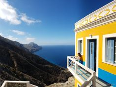 Greece, Dodecanese, Karpathos island, traditional Olympos village. Traditional colorful house on the edge.