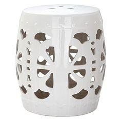 Safavieh Castle Garden's Collection Glazed Ceramic Antique White Stencil Blossom Garden Stool