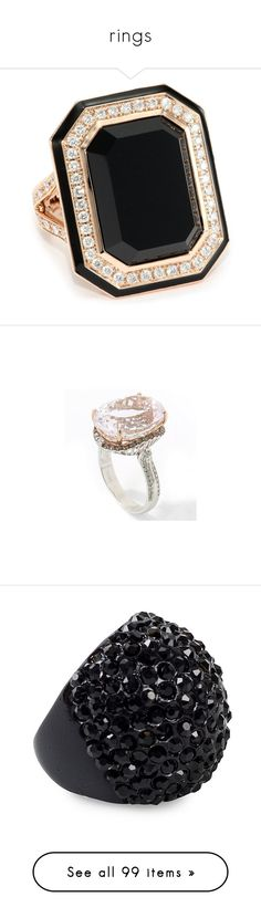 """""""rings"""" by darlingchick ❤ liked on Polyvore featuring jewelry, rings, accessories, anel, black, diamond jewelry, long rings, diamond cocktail rings, black onyx cocktail ring and cocktail rings"""