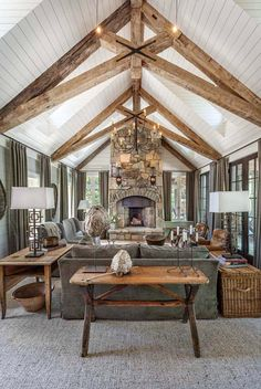 Whimsical lakeside cottage retreat with cozy interiors on Lake Keowee THIS CEILING. Not the decor so much. Whimsical lakeside cottage retreat with cozy interiors on Lake Keowee - Add Modern To Your Life Home Living Room, Living Room Designs, Lake House Family Room, Cottage Style Living Room, Haus Am See, Lakeside Cottage, Rustic Cottage, Cottage Ideas, Modern Cottage Decor