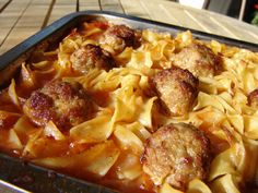 Meat balls in tomato sauce and noodles, is real comfort food. There is nobody who doesn't like juicy, tasty meatballs snuggling in a rich tomato sauce, surrounded by noodles! And these meat balls contain vegetables for extra flavor and goodness.