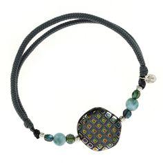 Bracelet FANTAZIA en cordon et Larimar et médaillon en verre - Blue Stone