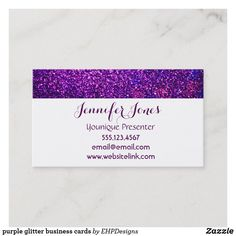 Shop purple glitter business cards created by EHPDesigns.