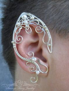 Pair of elven ear cuffs Pearl's Magic by StrangeThingJewelry