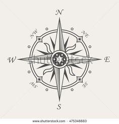 Rose Compass Symbol Vintage Nautical ...