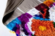 Traditional hand woven and dyed cotton rebozo with silk floss fringe, Michoacan.jpg