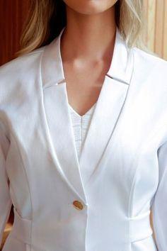 Image description Doctor White Coat, Doctor Coat, Dress Neck Designs, Blouse Designs, Ladies Coat Design, Scrubs Uniform, Lab Coats, Medical Uniforms, Nursing Clothes