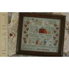 """Heart & Hand sampler. Gráfico de punto de cruz de la diseñadora de """"With Thy Needle & Tread"""" en www.lacasinaroja.com"""