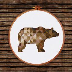 Geometric Bear cross stitch pattern decor cross by ThuHaDesign