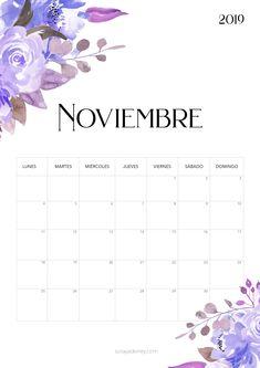 Calendario para imprimir noviembre 2019 #freebie #calendario #calendar #noviembre #flowers #nature #papeleria #stationary Calendar 2019 Printable, Daily Planner Printable, 2019 Calendar, Printable Labels, Printable Paper, Agenda Planner, Monthly Planner, Planner Stickers, Planning And Organizing