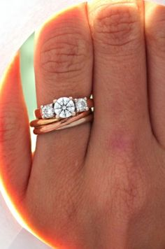 wedding band idea with cartier trinity ring