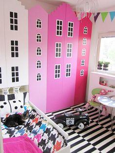 The best ikea hacker ever! Look at this wardrobe (Ella's Bright & Bold Bedroom Room Tour) Girl Room, Girls Bedroom, Bedrooms, Child Room, Baby Room, Billy Ikea Hack, Ikea Furniture Makeover, Kid Furniture, Bedroom Furniture