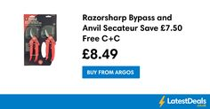 Razorsharp Bypass and Anvil Secateur Save £7.50 Free C+C, £8.49 at Argos