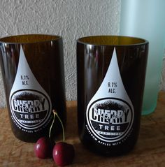 Recycled Beer Bottle Glasses made from Cherry by ConversationGlass, $22.00