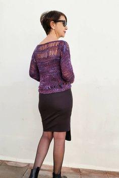 Jersey de punto de mujer suéter de lana tejido a mano