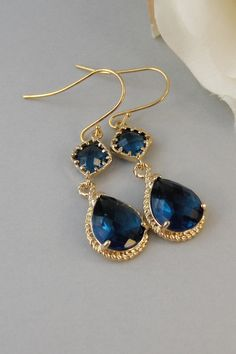 Something Blue, Sapphire Earrings,Gold Earrings,Gold,Bride,Blue,Navy,Wedding,Handmade jewelery by Valleygirldesigns on Etsy. $34.00, via Etsy.