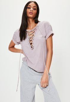 Purple Lace Up Oversized T-Shirt - Missguided