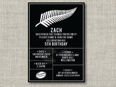 All Blacks Birthday Invitation Cupcake by kellylouisedesigns
