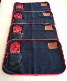 denim placemat | LEVIS-vintage-BIG-E-placemats-1960s-jeans-denim-fast-color-bandana-set ...