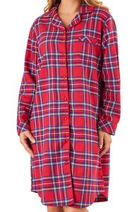 4c74a5e239 Slenderella Ladies Yarn Dyed Tartan Nightshirt (Red)