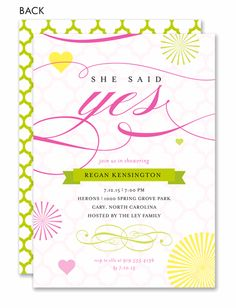 She Said Yes Modern Elegance Engagement Party Invitation  by Noteworthy Collections