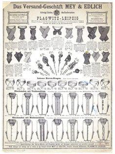 Mey & Edlich Katalogsseite des ersten deutschen Versandkatalogs von 1886 mit den Produkten Kragen und Hemden.