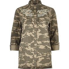 Brown camo embroidered shacket £42.00 ... Need !