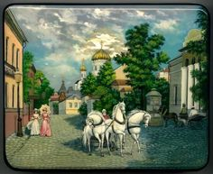 """Russian Fedoskino Lacquer box """"Old Moscow View"""""""