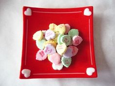 NEW Valentine Candy Heart Fused Glass Dish by SunflowerGlassworks, $22.00