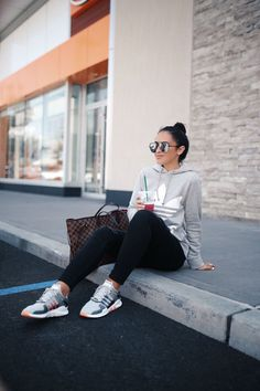 Gray Adidas Original Trefoil Hoodie and Adidas EQT Support Adv Sneaker Grey Adidas Hoodie, Adidas Trefoil Hoodie, Gray Adidas, Friday Outfit, Booties Outfit, Nike, Casual Outfits, Winter Outfits, Hoodies