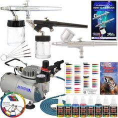 3 Airbrush System 6 Color Paint Kit & Air Compressor Dual-Action Color Wheel Set