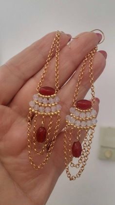 Gorgeous Chandelier Earrings Natural Red Agate Beads Long