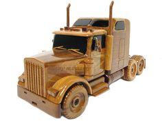 Kenworth Semi Tractor Trailer Truck Wood Mahogany Wooden Trucker Display Model Gift