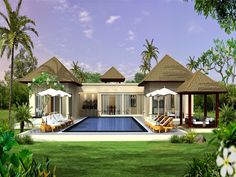 Wonderful Modern Architecture House Plans With Blue Ceramic Tile Swimming Pool Also Grey Triangle Clay Roof And White Painted Wall And Pillar For Summer Home Ideas Architecture Wallpaper, Modern Architecture House, Modern House Design, Interior Architecture, Modern Houses, Dubai Real Estate, Home Wallpaper, Wallpaper Desktop, Wallpapers