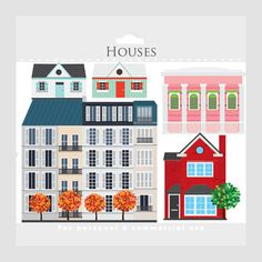 House clipart - houses clip art, buildings, homes, shotgun house, French houses, English houses, apartments, cottages, whimsical, trees