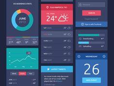 Flat Design UI Components - beautiful design found on Dribbble