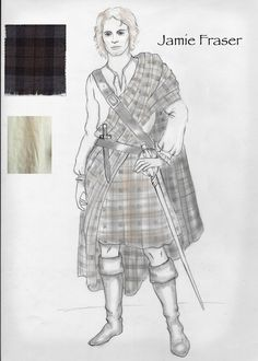 Jamie Sketch 1 This was so very, very long ago. His costume just looks nothing like this. But it is fun to see the genesis. This was done right after Sam was cast. Diana Gabaldon Outlander Series, Outlander Book Series, Costume Design Sketch, Terry Dresbach, Folk Clothing, Jamie Fraser, Sam Heughan, Outlander Clothing, Sewing Patterns