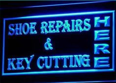 Shoes Repairs Key Cutting Neon Light Sign