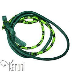 Toubab Paris Collier en tissu wax fantaisie sautoir bracelet ceinture Toutencordon 170 cm vert bijoux ethniques éthiques chics