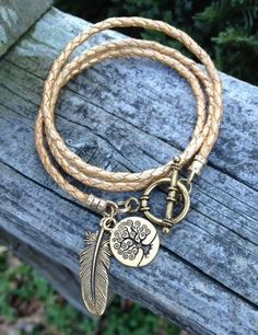 Life & Spirit Gold Leather Wrap Bracelet - Boho jewelry - leather wrap bracelet