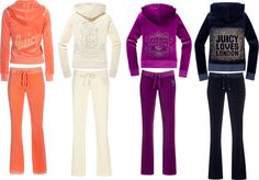 Juicy Couture track suits became popular after celebrity sitings, especially after Jennifer Lopez wore one at a concert. The track suits were usually paired with UGG boots.