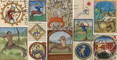 Confident, outspoken + enthusiastic Sagittarius (archer), as depicted in medieval calendars