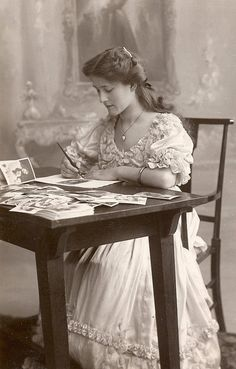 Victorian Lady writing letter.