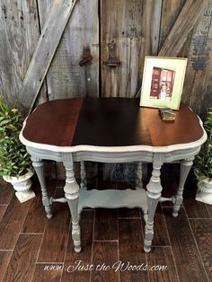 how to save ugly wood grain with two tone stain antique parlor table, how to, painted furniture, repurposing upcycling