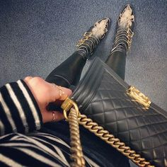 Striped top, leather pants, chanel le boy & chloe susanna boots. perfection.