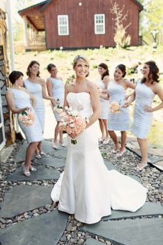 light blue dresses with pink/white flowers?