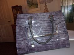 Extra Large Gray Handbag in classic crocodile embossed finish