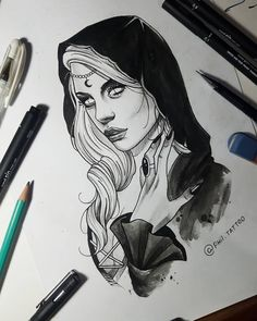 Find the tattoo artist and the perfect inspiration to get your tattoo. - Drawing created by Brazilian artist Felipe (phil.tattoo) from Rio de Janeiro. Tattoo Sketches, Drawing Sketches, Tattoo Drawings, Body Art Tattoos, Dark Art Drawings, Pencil Art Drawings, Geometric Tatto, Witch Tattoo, Dark Tattoo