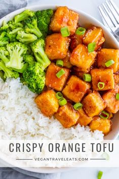 "Crispy Orange Tofu from Vegan Tofu Recipes - Tofu Recipes To Try In Vegan? Wondering what to do with that tofu you bought? You gotta ""check"" out this list of vegan tofu recipes! Vegan Dinner Recipes, Vegan Dinners, Veggie Recipes, Cooking Recipes, Healthy Recipes, Recipes Using Tofu, Vegetarian Recipes Tofu, Cooking Tofu, Veggie Food"