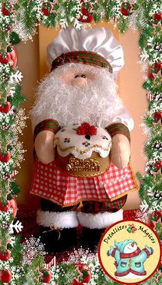 SANTA COCINERO LUMA Mary Christmas, Christmas Holidays, Christmas Ornaments, Diy Snowman, Navidad Diy, Felt Dolls, Xmas Decorations, Christmas Projects, Decor Crafts
